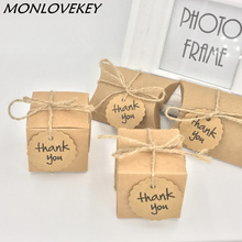 10pcs Kraft Paper Pillow/Square Candy Box Rustic Wedding Favors Holder Bags Party Gift Boxes with thank you tags