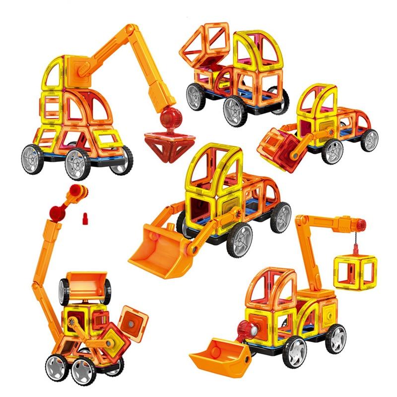 60Pcs Magnetic Designer Building font b Blocks b font 3D DIY Creative Engineering Vehicles Bricks Models