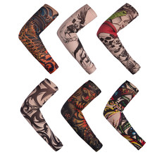 Temporary Fake Tattoo Sleeve Men Women Arm Warmer Designs Summer Sunscreen Arm Sleeves Cover Tattoos Sun UV Protection Elastic(China)