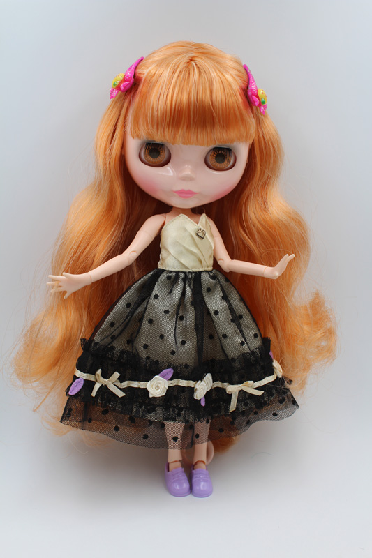 Free Shipping BJD joint RBL-206J DIY Nude Blyth doll birthday gift for girl 4 colour big eyes dolls with beautiful Hair cute toy купить