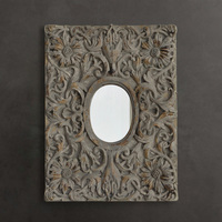 US / French country / Heri series of advanced resin / vintage home decor / Knoll blue carved wall mirror
