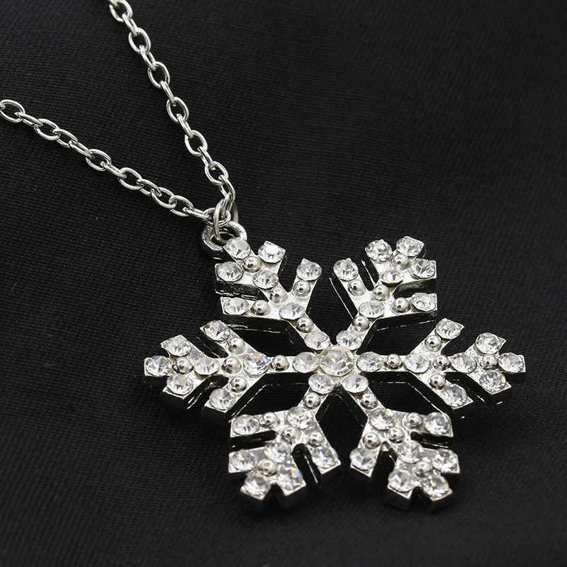 Srebrny kryształ naszyjniki Hollow wisiorki Rhinestone zawieszka z cyrkonią serce Snowflake korony motyl sowa łańcucha biżuteria Choker