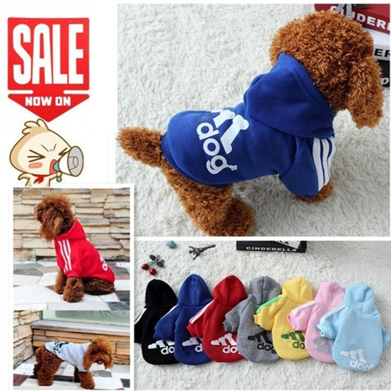 2018 New Autumn Winter Pet Products Dog Clothes Pets Coats Soft Cotton Dog Hoodies Clothing For Puppy Dogs 7 colors XS-2XL PD212