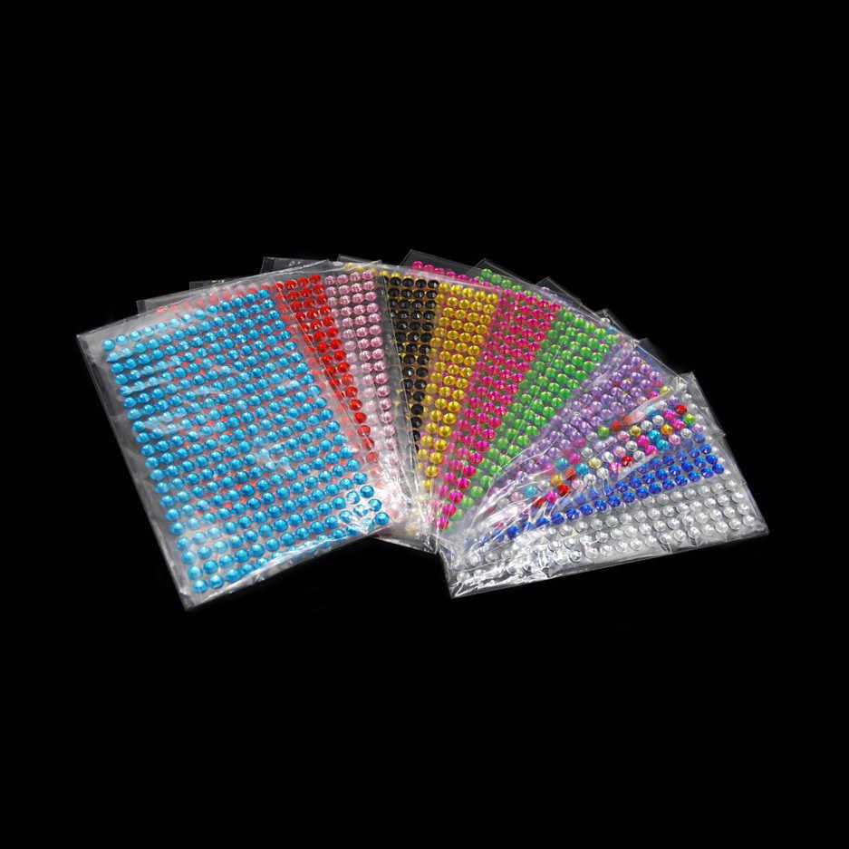 และงานตกแต่ง DIY 12 สีอะคริลิคสติกเกอร์ 3 มม.4 มม.5 มม.6 มม.DIY คริสตัลเพชร self Adhesive สติกเกอร์ Rhinestone