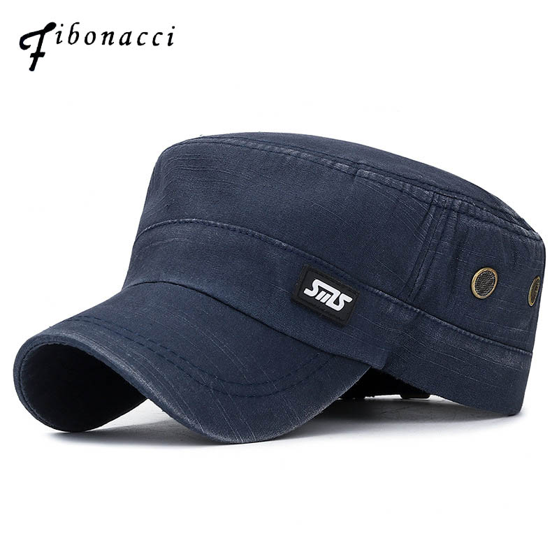 Fibonacci Classic Man Military Cap Washed Cotton Flat Top Men Tactical Army Hat image
