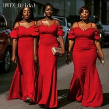 Red Long Bridesmaid Dresses For Wedding Party 2018 New African Plus Size  Off Shoulder Sexy Mermaid 8c6f4839c140