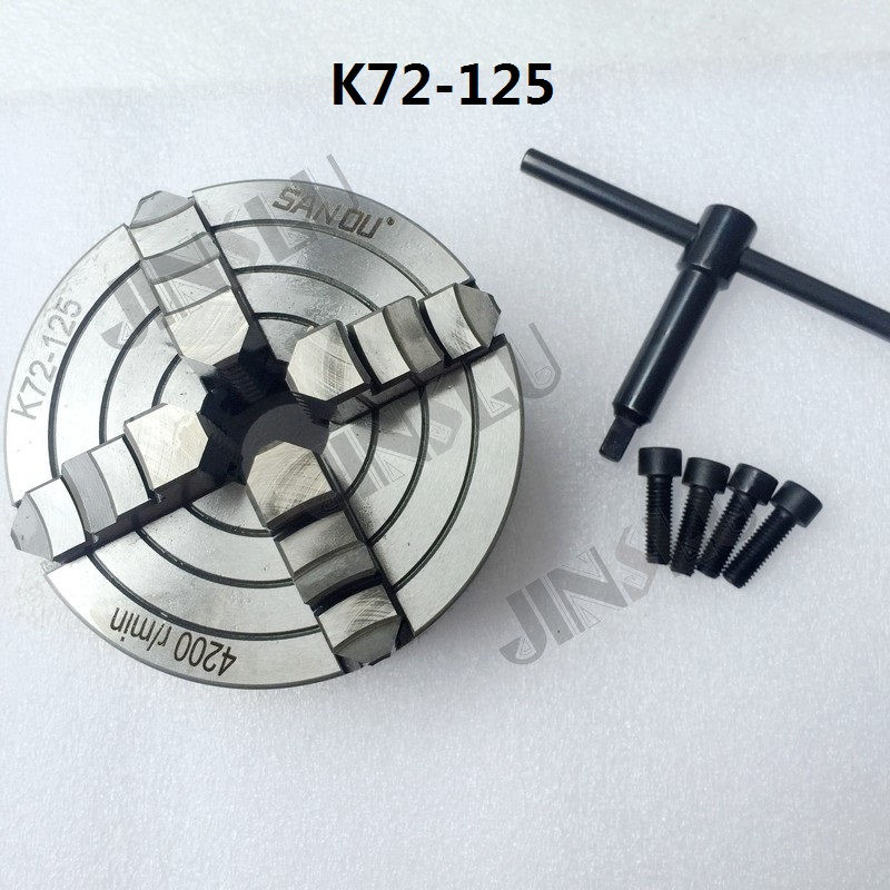 K72-125 4 Jaw Lathe Chuck Four Jaw Independent Chuck 125mm Manual for Welding Positioner Turn Table 1PK Accessories for Lathe 4 jaw lathe chuck independent chuck k72 100 100mm manual m6x3 for welding positioner turntable1pk accessories for lathe