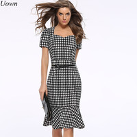 Women Elegant Formal Dress Mermaid Work Office Dress Lady Tailored Ruffles Knee Length Bodycon Party Pencil