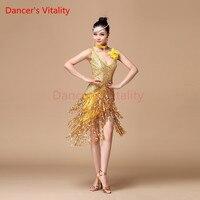 Women Latin Dance Dress Ballroom Dance Competition Dresses Samba Costume Ladies Salsa Dresses With Necklace Corsage