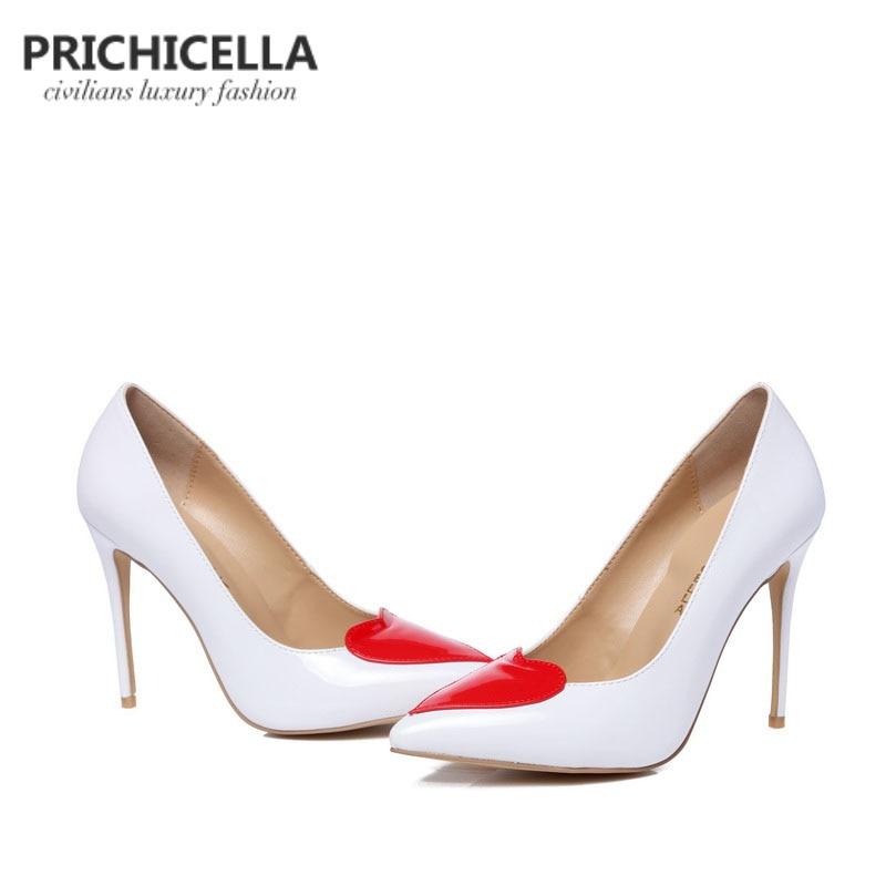 Avec Taille Chaussures Blanc Soirée En Femmes Prichicella De Grande Rouge Robe Mince Véritable Cuir Mariage À Hauts Coeur Talons 1JTFclK