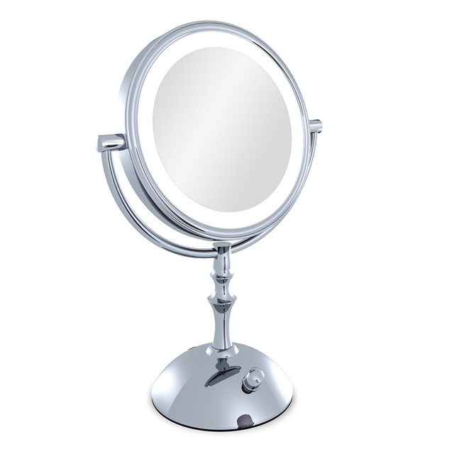 Professional makeup mirror with light 8 Inch led pact cosmetic mirror lady s 3X Double Sided magnifying - magnifying makeup mirror