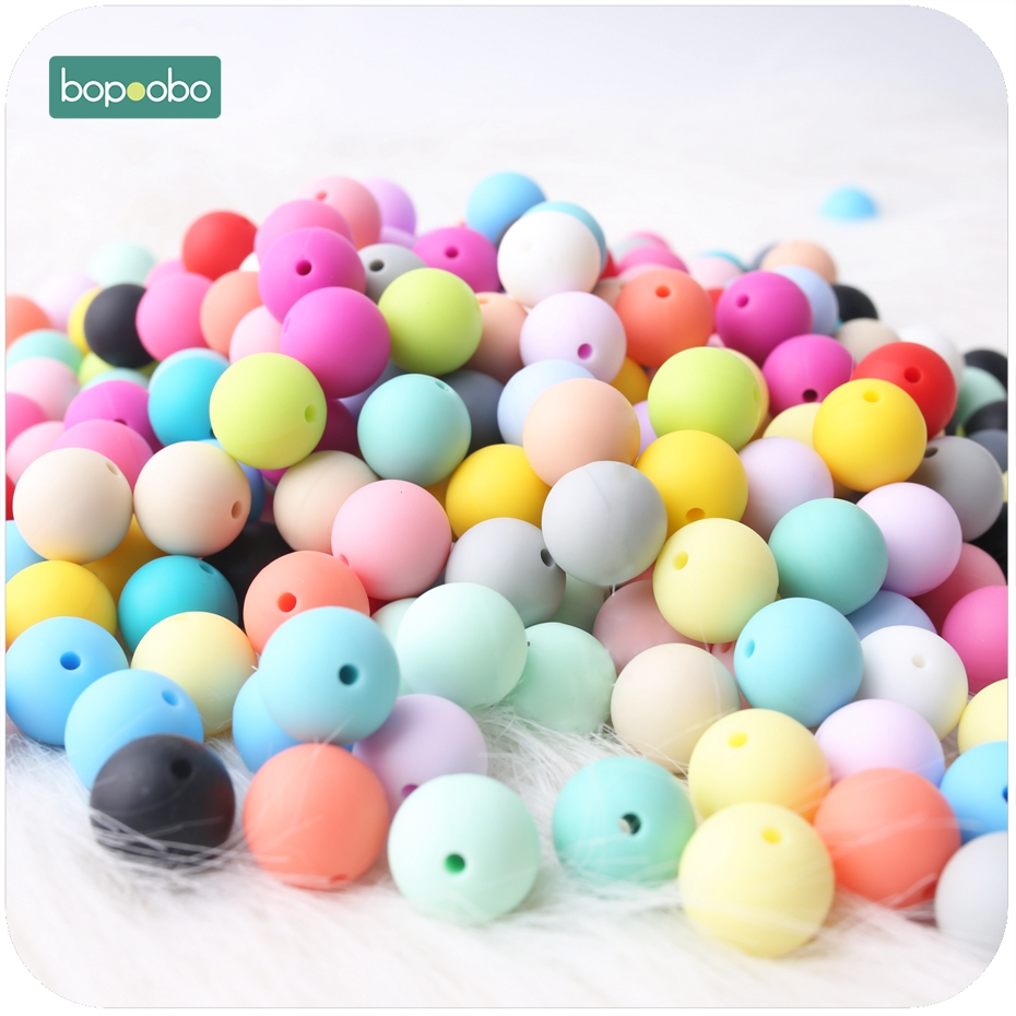 Bopoobo 20pc Baby Silicone Teethers Chewing Silicone Beads Teether DIY Jewelry Sensory Toys Nursing Bracelet Baby Teether 20mm