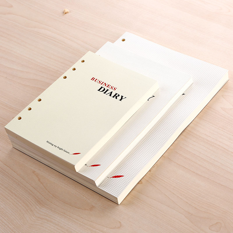 Personal Diary Notebook Filler pager B5 A5 A6 96 sheets 6 core hole loose leaf paper spiral inner core inside page daily memos standard b5 spiral notebook inside 60 pcs quality kraft paper page 9 hole on paper loose leaf page for genuine leather notebook