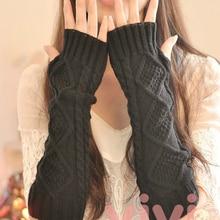 1 Pair Autumn Winter Women Knit Gloves Arm Wrist Sleeve Warmer Girls Rhombus Lon