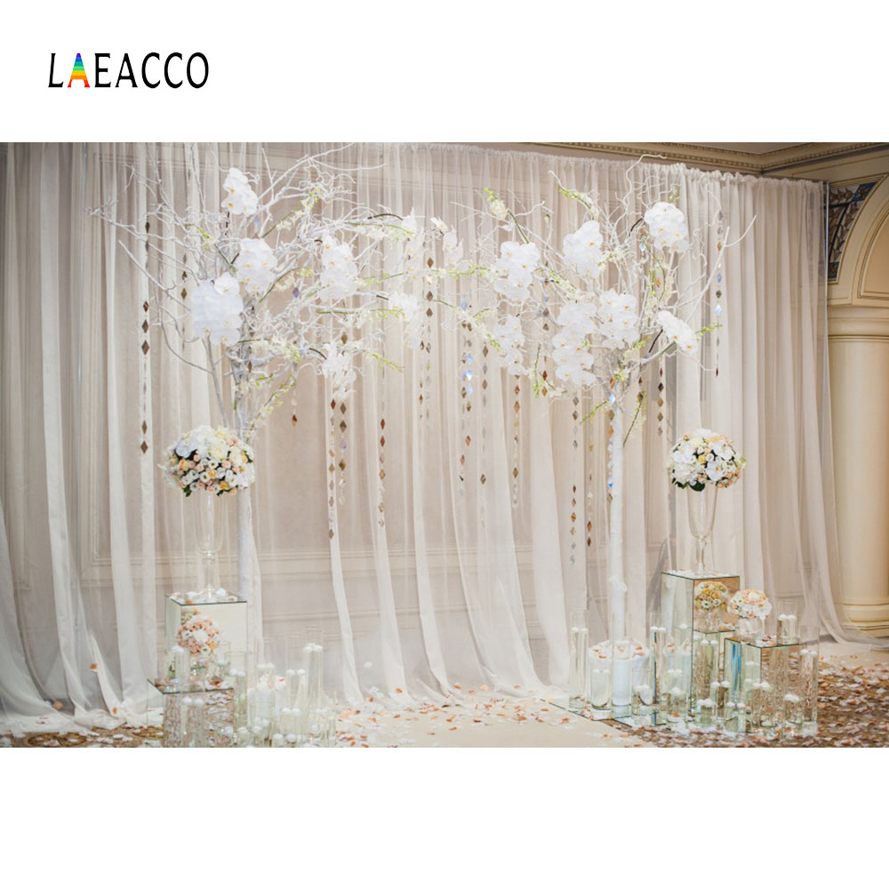 Laeacco Chic Indoor Curtain Background Floral Tree Tassel Scene Photography Backdrops Vinyl Customs Backgrounds For Photo Studio