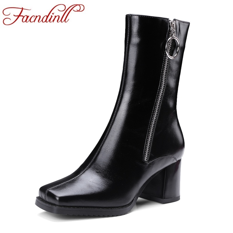 FACNDINLL shoes 2017 fashion genuine leather women black ankle boots shoes high heel square toe zipper women casual riding boots women autumn winter boots 2016 new fashion genuine leather shoes woman ankle boots low heel square toe black shoes riding boots