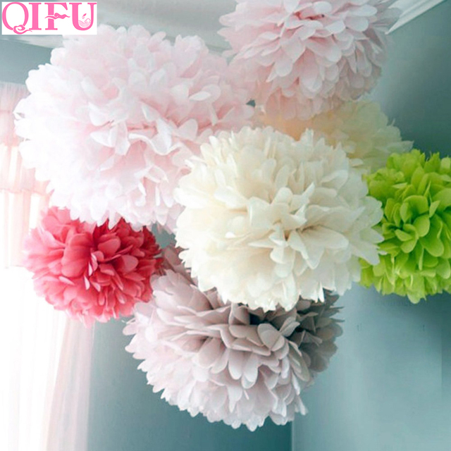 Qifu 5pcs Wedding Decoration Table Pompom Tissue Paper Pom Craft Diy Flower Ball Birthday