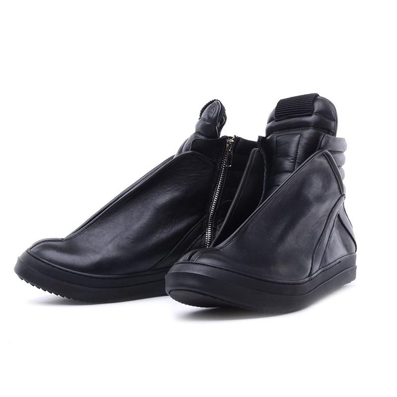 Hommes chaussures haut de gamme cheville baskets de luxe en cuir véritable hommes bottes mode noir rue Hip Hop chaussures Designer bottes - 6