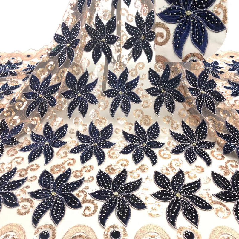 Best Selling African Velvet Lace Fabric With Stones Dubai Embroidered French Tulle Lace High Quality For Party Dress RG339-in Lace from Home & Garden    3
