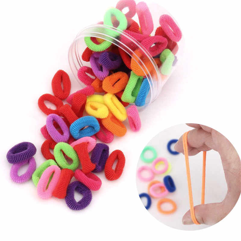 100 piezas 1,8 cm colorido anillo de goma elástico bandas de pelo de cola de caballo titular de bandas de goma niños coreanos niñas accesorios para el cabello