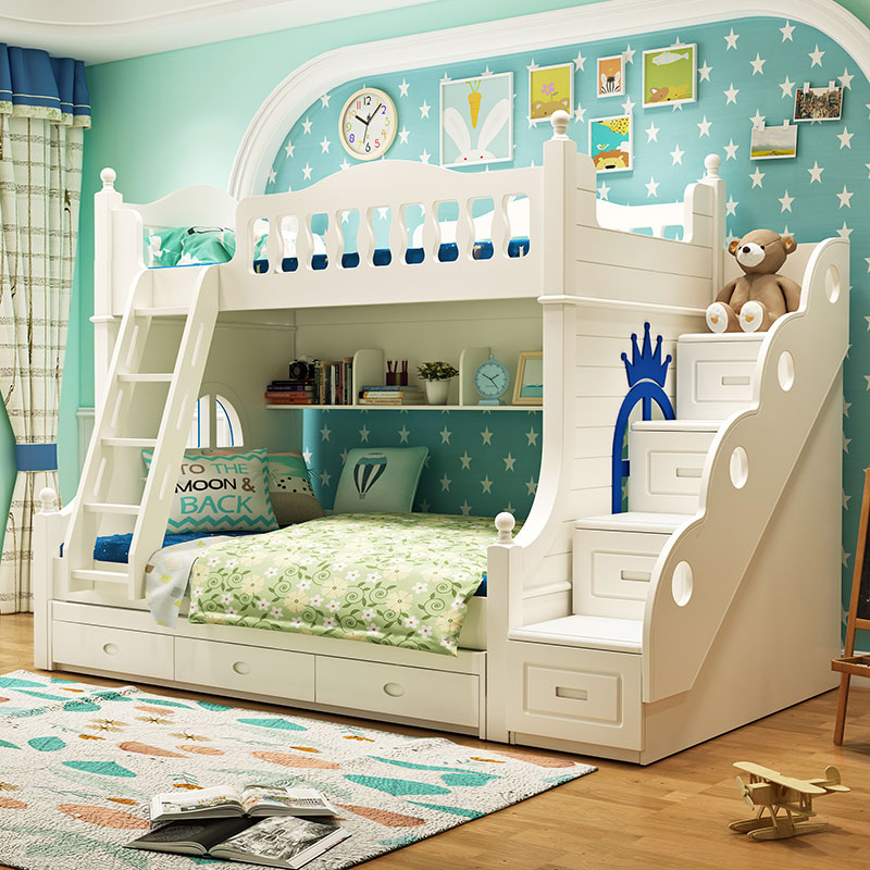 Louis Fashion Double Solid Wood Bunk Bed For Children In