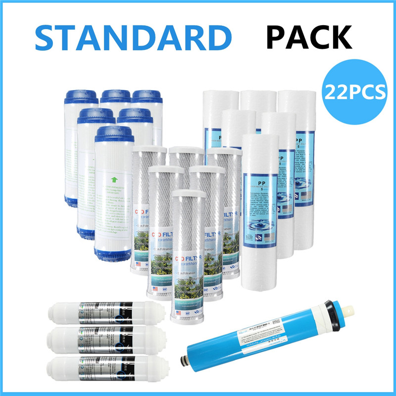 цена на Warmtoo 22Pcs/Set Water Filters Sediment Carbon Reverse Osmosis Filter Replacement Pack