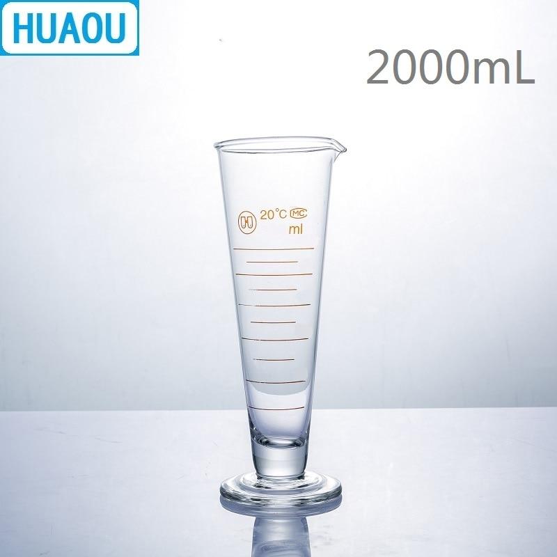 HUAOU 2000mL Graduate Short Lines with Spout 2L Measuring Cup Cylinder Laboratory Chemistry Equipment 2000ml chemistry laboratory stainless steel measuring beaker cup with pour spout