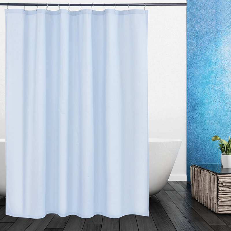 Modern Solid Blue Waterproof Fabric Shower Curtains For Bathroom With Hooks In From Home Garden On Aliexpress