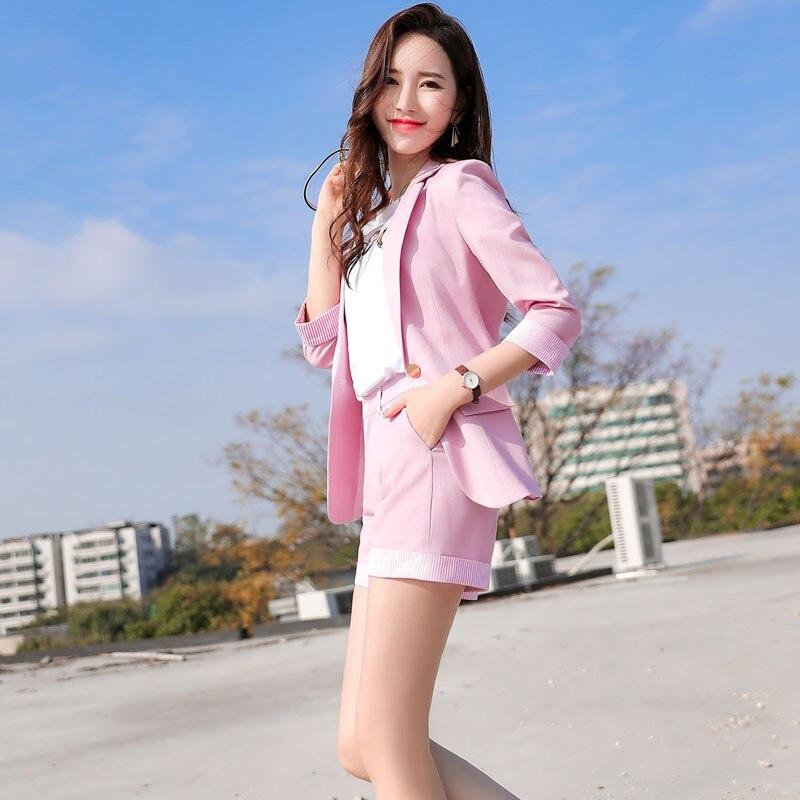 IZICFLY Summer New Style Pink Blazer Womens Suit With Shorts Elegant Business Ladies Office Uniform Dresy Damskie Short Set 4XL