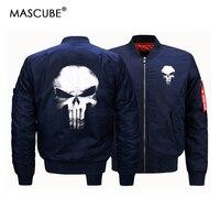 MASCUBE 남성 폭격기 재킷 두개골 인쇄 남성 전술 군사 재킷 남성 윈드 남성 육군 폭격기 비행 재킷 코트