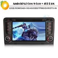 Восьмиядерный Android 8,0 Авторадио DAB + СБ Navi автомобиль радио плеер для AUDI A3 RS3 Wi Fi 4 г gps bluetooth DVD BT SD DVR OBD2 DVT IN