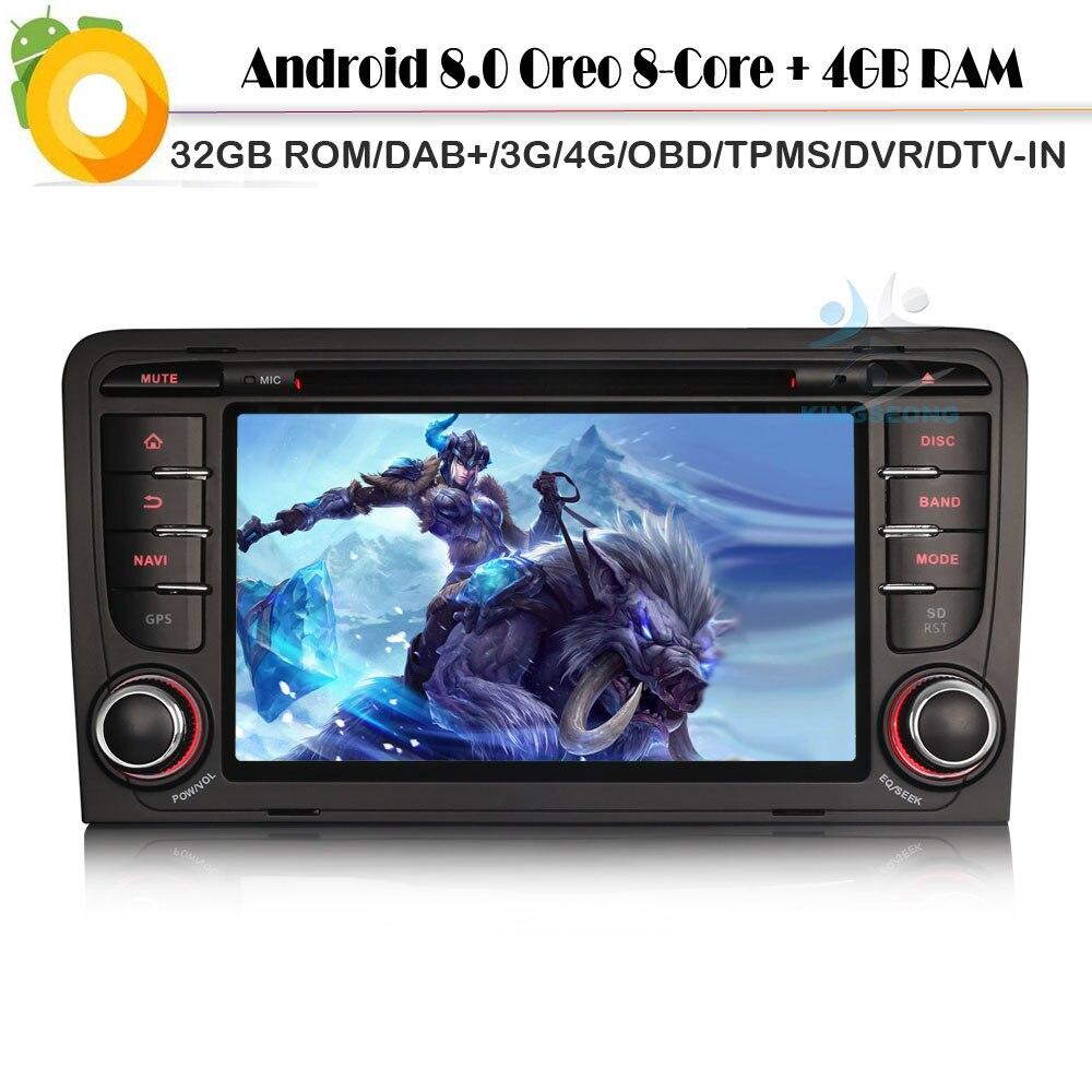 Lecteur d'autoradio Octa Core Android 8.0 + Sat Navi pour AUDI A3 RS3 WiFi 4G GPS Bluetooth DVD BT SD DVR OBD2 DVT-IN