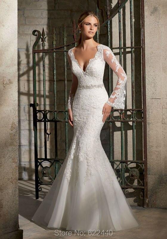 unique designer long flare sleeves lace wedding dresses mermaid wedding dress belt bridal wedding gown