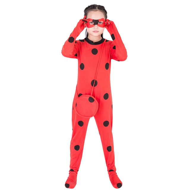 Girls Miraculous Marinette Ladybug Halloween Costume Superheroine Charater Red Skintight Lady Bug Cosplay Fancy Dress  sc 1 st  AliExpress.com & Girls Miraculous Marinette Ladybug Halloween Costume Superheroine ...