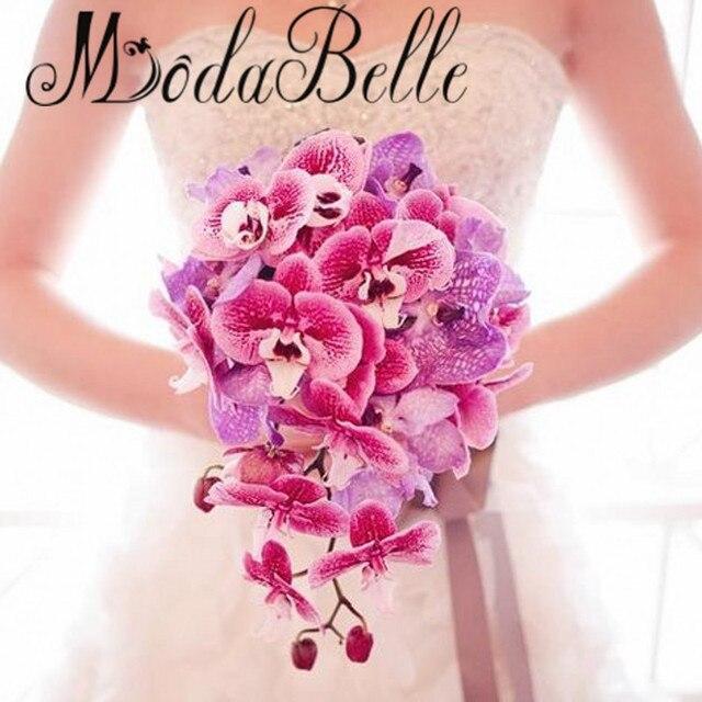 Орхидея фаленопсис Искусственный Каскадных Свадебный Букет Конструкции Розовый Фиолетовый Teardrop Свадебный Букет Невесты Bruidsboeket Waterval