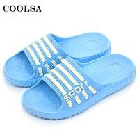 Coolsa Summer Hot Stripe Flip Flops EVA Women Sandals Soft Flat Non-Slip Slides Female Home Bathroom slippers Casual Beach Shoes
