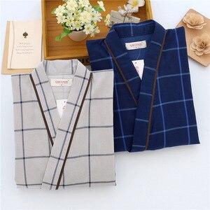 Image 4 - Letnie męskie i damskie 100% bawełna gaza piżamy ustawia Retro dekolt Pijama Kimono garnitur para bielizna nocna nocna odzież domowa