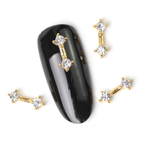 10Pcs New 2019 Glitter Pearl with Rhinestones Alloy Metal 3D Nail Art Decoration Charms Studs Nails 3d Jewelry