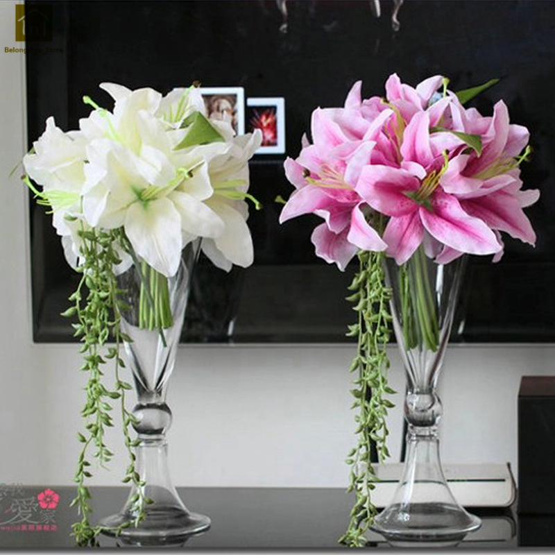 European Flower Vase Wedding Transparent Tabletop Trumpet Shape Terrarium Glass Containers Creative Vase Wedding Decoration Q029