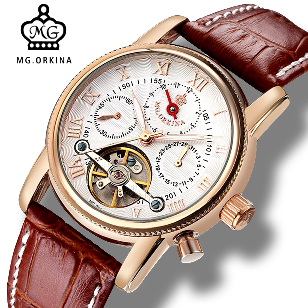Mens Tourbillion Mechanical Automatic Watch Men MG.Orkina Luxury Business Rose Gold Self Wind Auto Date Genuine Leather Watches original binger mans automatic mechanical wrist watch date display watch self wind steel with gold wheel watches new luxury