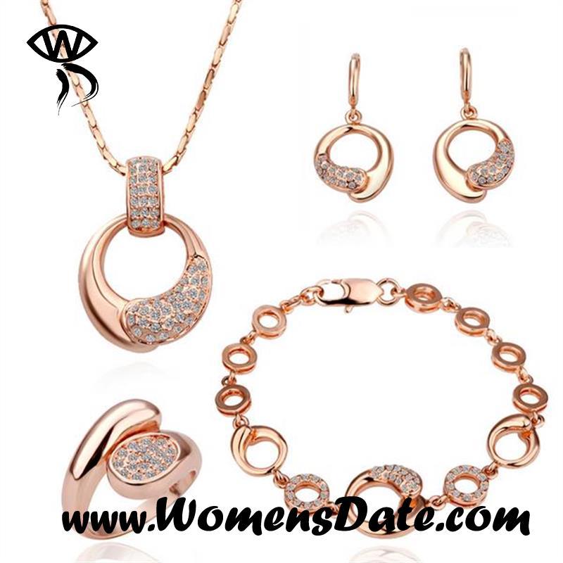 WomensDate Hot Sale Trendy Women Zircon 18K Rose Gold Plated Beautiful Necklace Earrings Bracelets Ring Wedding Jewelry Sets