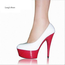 CDTS 2016 shoes woman spring/autumn New 15cm high heels platform wedding sexy round head ankle pumps,Big 35-43 44 45 46