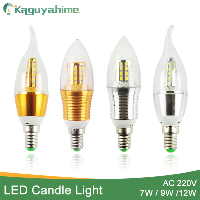 Kaguyahime 3w~12w Candle LED Bulb E14 Golden Aluminum 9W 12W LED Light 220V Led Lamp Cool Warm White Lampada Bombillas Lampara