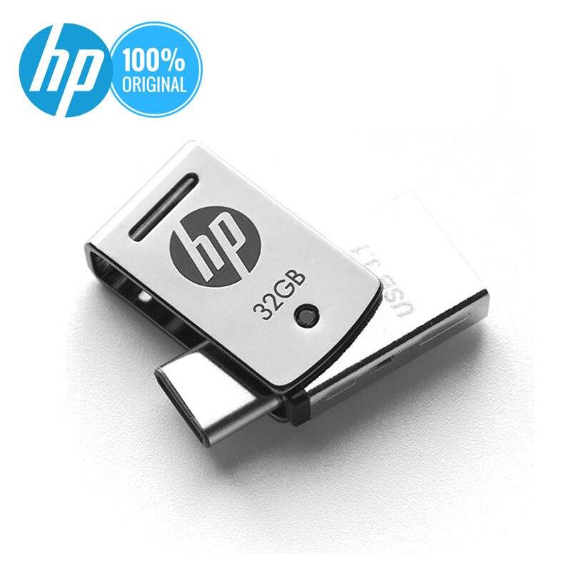 HP OTG Type-C USB 3.1 Metal USB Flash 16GB 32GB 64GB For SmartPhone/Tablet/PC DJ Pendrive USB 3.0 Personality Logo Pen Driver