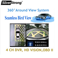 Free shipping HighEnd Car eagle view parking 360 around view system 4 channel with DVR watchdog shock sensor working with CARDVD