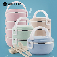 WORTHBUY High-Capacity Stainless Steel Lunch Boxs Containers With Compartments Japanese Bento Box Kids Picnic Food Containers