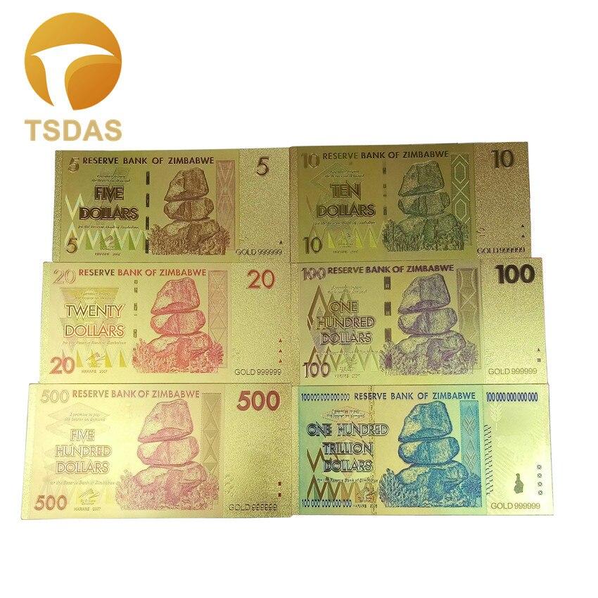 6pcs/lot Zimbabwe Banknote Dollar Bills in 24k Gold Plated Foil Free Shipping