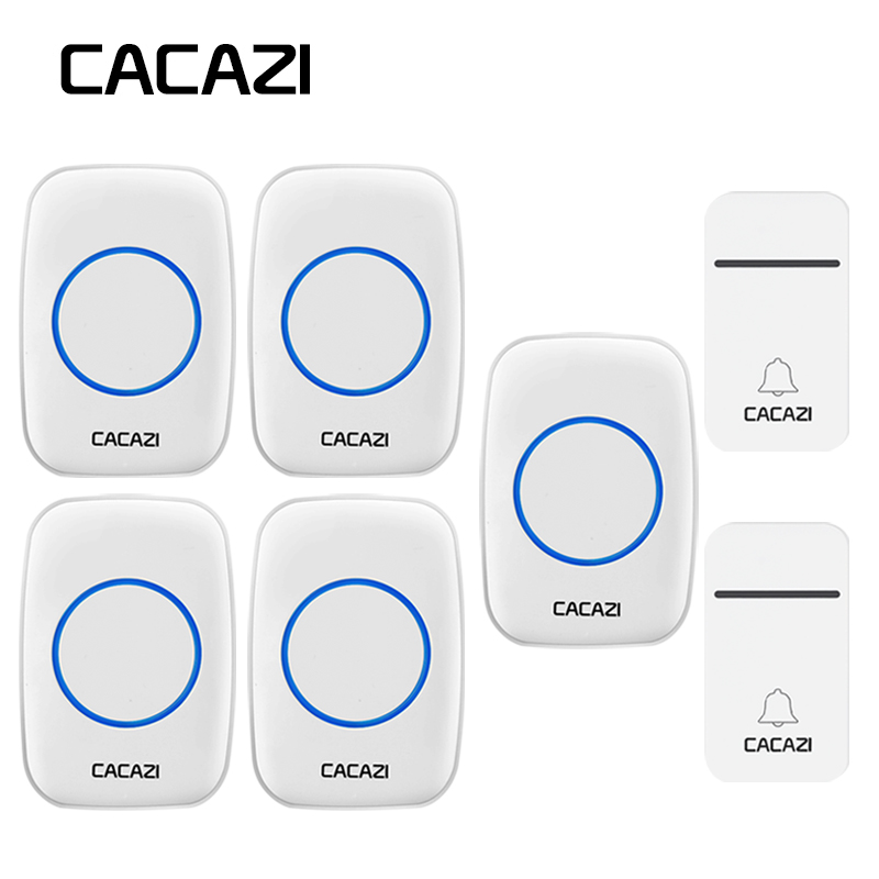 CACAZI Waterproof Home Wireless Doorbell No Battery Self-Powered LED Light 200M Remote Calling Bell US EU Plug 3 Volume 38 Chime цена