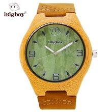 IBigboy Únicos Relojes De Madera Ojo de Gato Verde Reloj De Madera De Bambú Caso Banda de Cuero Movimiento de Cuarzo Cristal IB-1606Aa