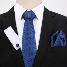 Blue Dot Jacquard Woven For Formal Wedding Business Party Tie + Hanky Cufflinks Sets Men`s 100% Silk Free Postage